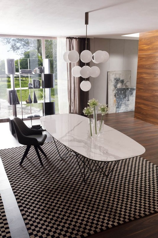table repas fil8 fixe ovale espace steiner design contemporain. Black Bedroom Furniture Sets. Home Design Ideas